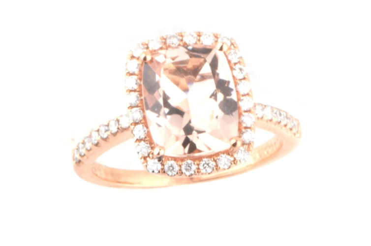 18K Cushion Morganite and Diamond Ring