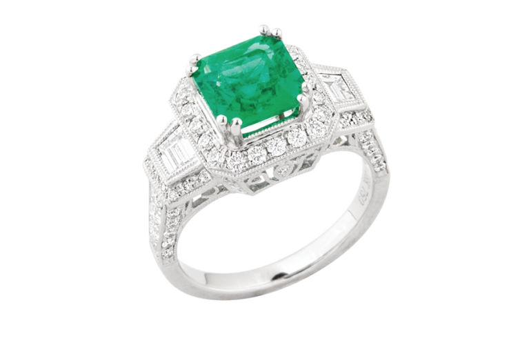 18k Radiant Cut Emerald Ring with Diamond Trapezoid and Full Halo