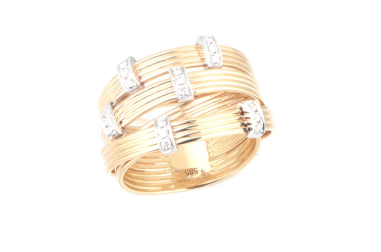 14K Textured Diamond Fashion Ring