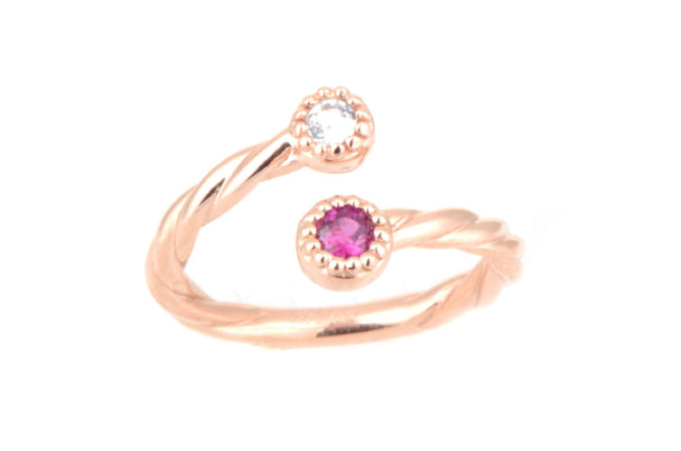14K Twisted Rope Design Two Stone Ring with Ruby and White Topaz