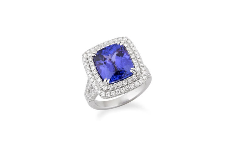 18K Tanzanite with Double Diamond Halo Ring