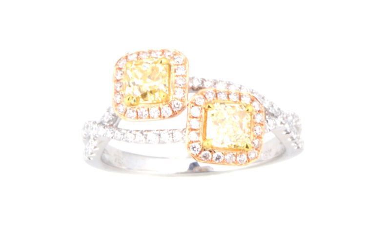 18K Cushion Yellow Diamond Bypass Ring with Twist Shank